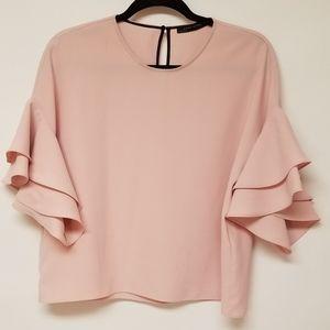 Zara Top Double Bell Short Sleeves Peach M